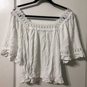 Ruffled White Embroidered Top